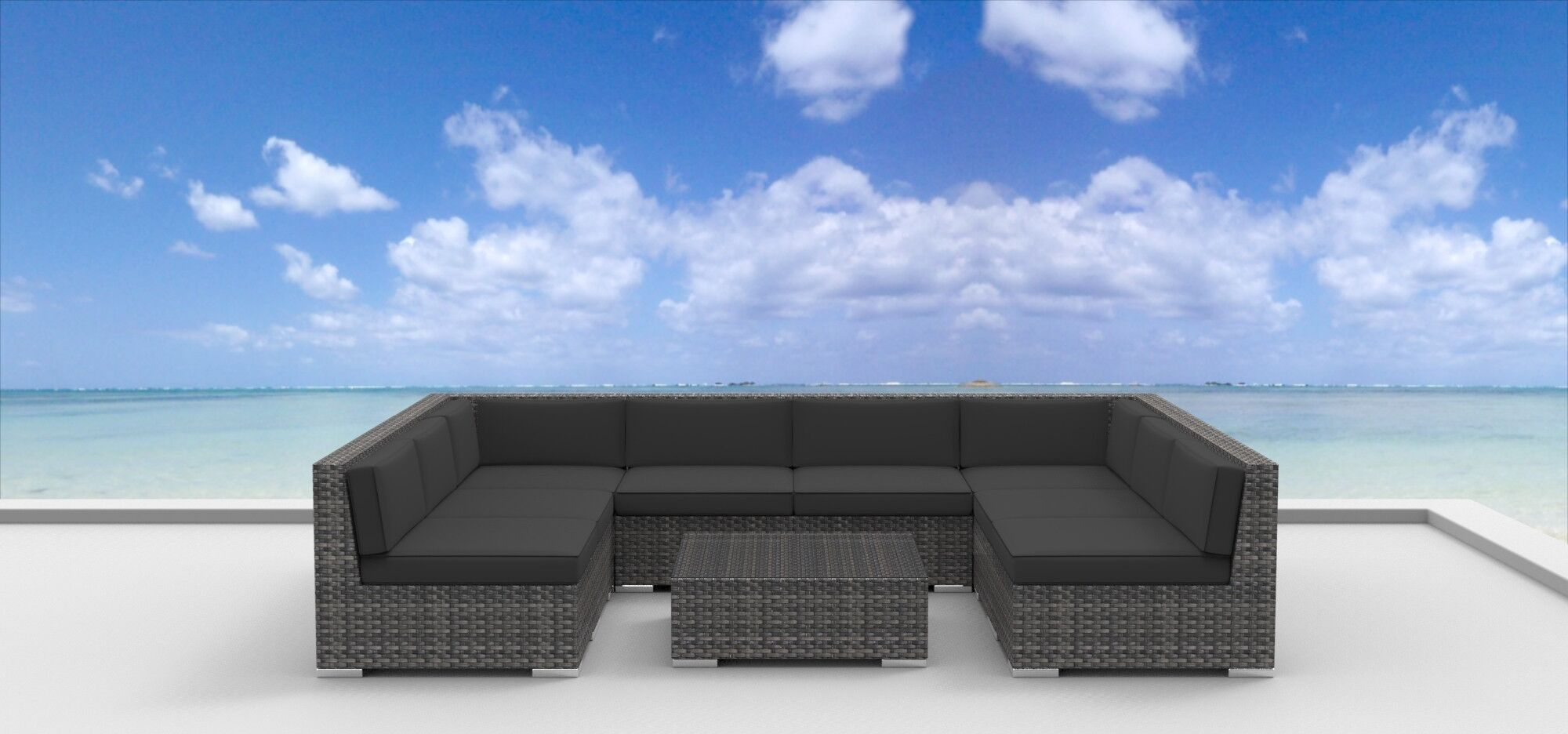 Tahiti 9 Piece Sectional Set with Cushions Fabric: Charcoal