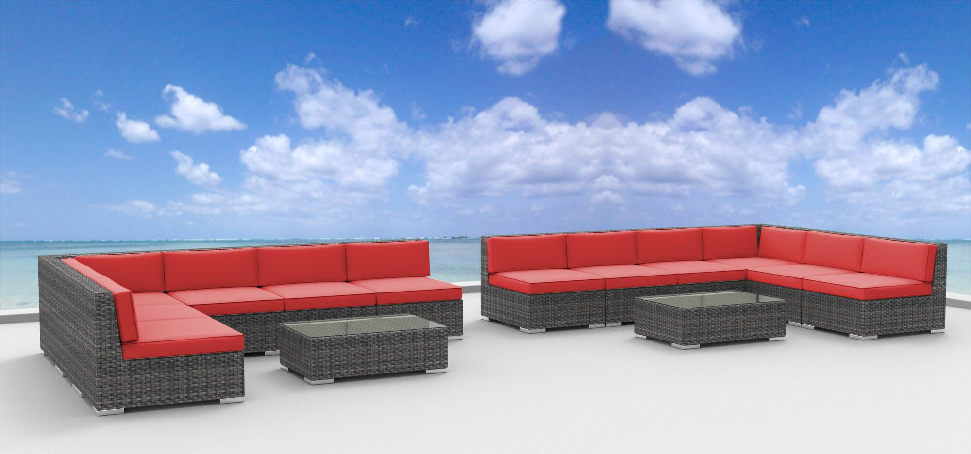 Venice 14 Piece Sectional Set with Cushions Fabric: Coral Red