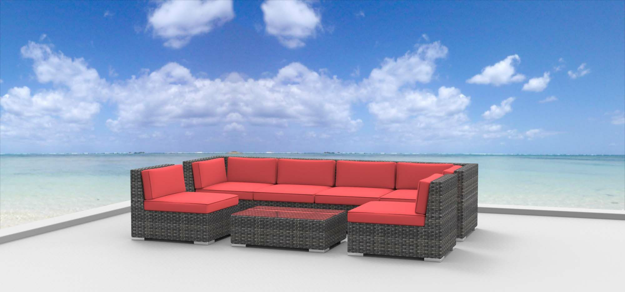 Mason 7 Piece Sofa Seating Group with Cushions Fabric: Coral Red