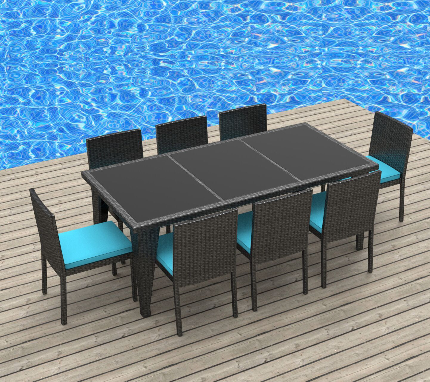 9 Piece Dining Set with Cushions Cushion Color: Sea Blue, Color: Gray