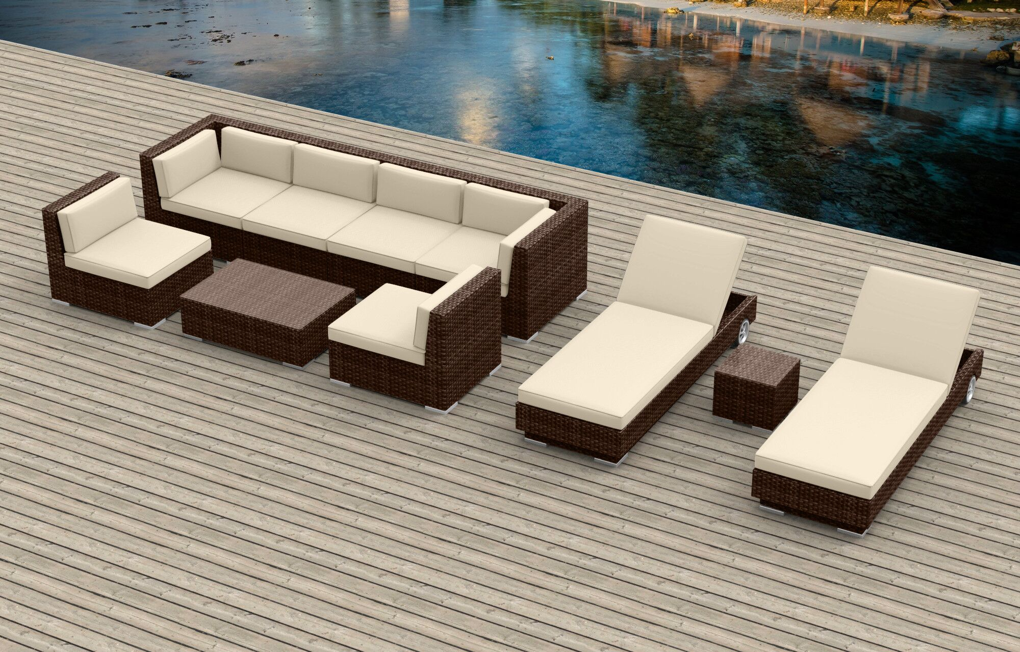 Dana 10 Piece Sectional Set with Cushions Fabric: Beige, Frame Color: Brown