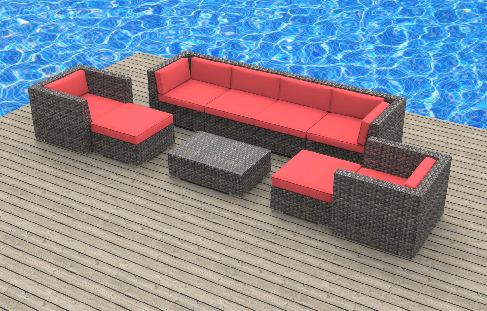 Karla 9 Piece Sectional Set with Cushions Fabric: Coral Red