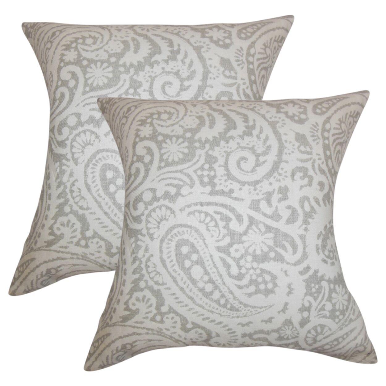 Hudepohl Paisley Throw Pillow Color: Gray