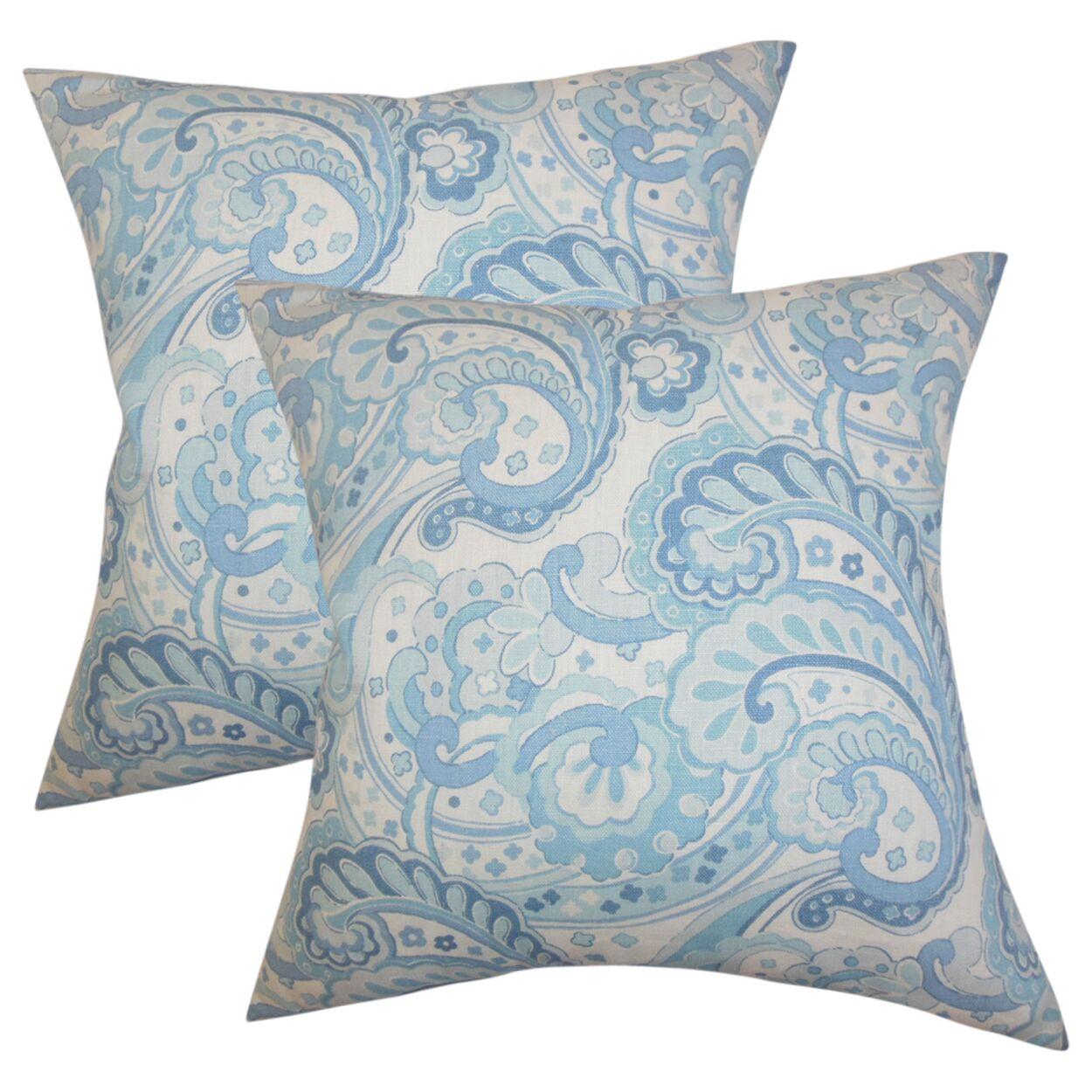 Dolbeau Floral Cotton Throw Pillow Color: Blue