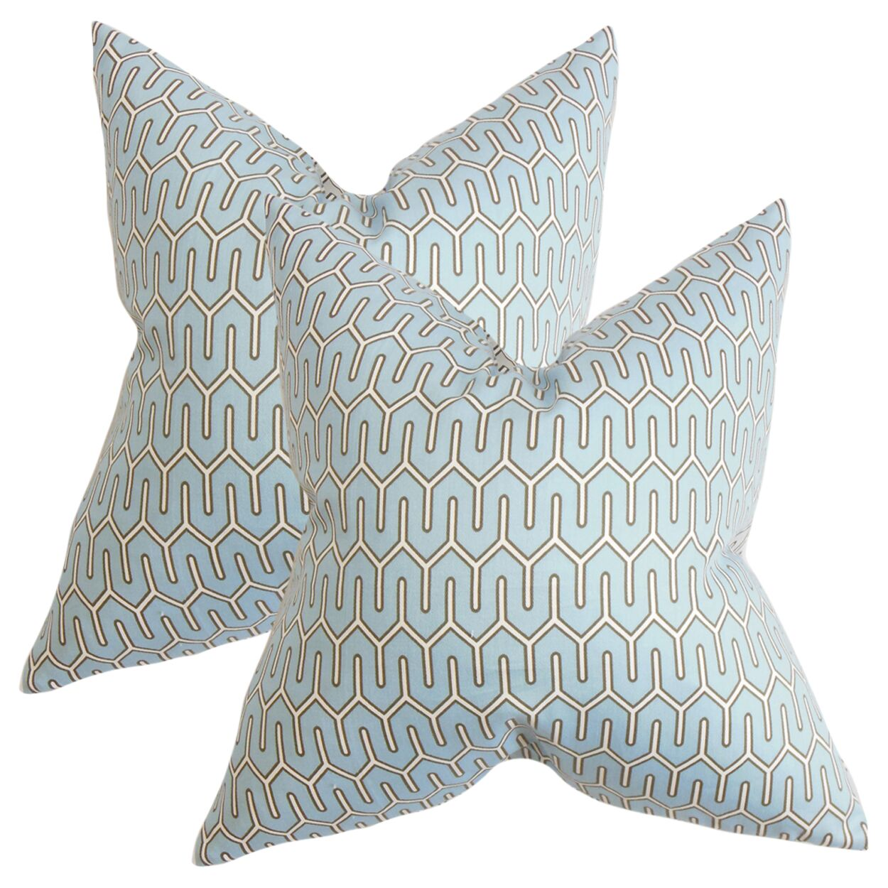 Wolfgram Geometric Cotton Throw Pillow Color: Blue