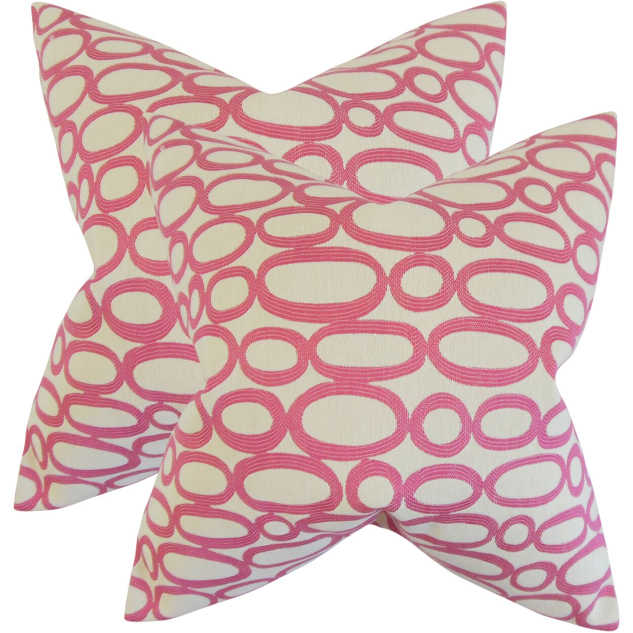 Mehta Geometric Cotton Throw Pillow Color: Bubble Gum