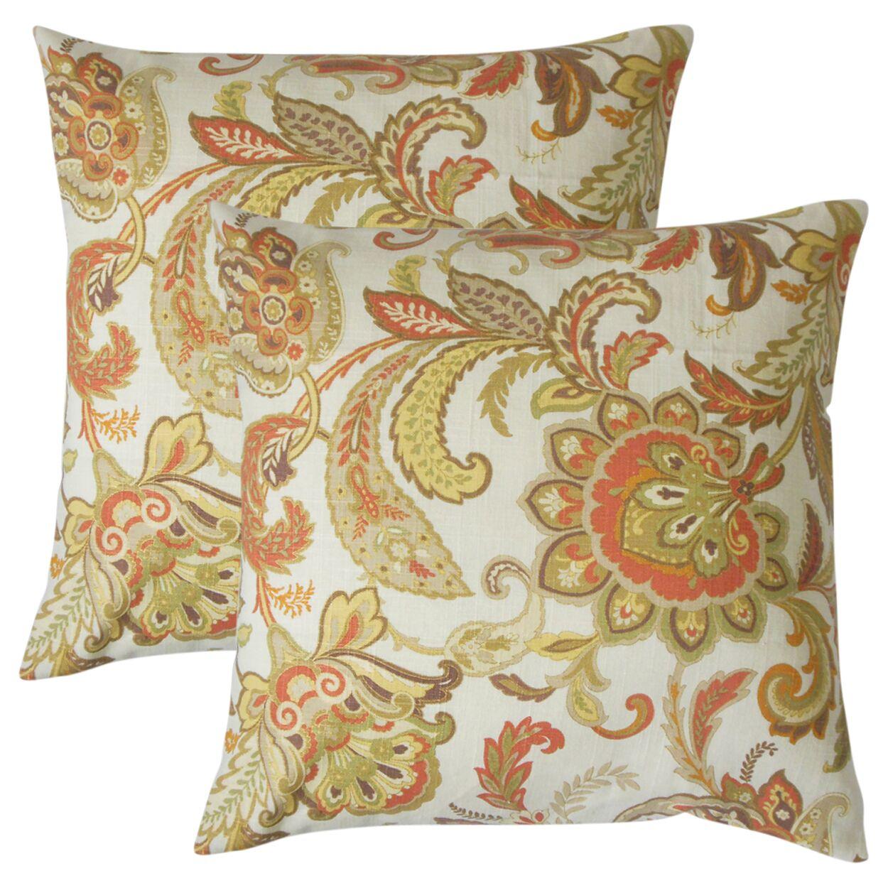 Abramo Floral Linen Throw Pillow