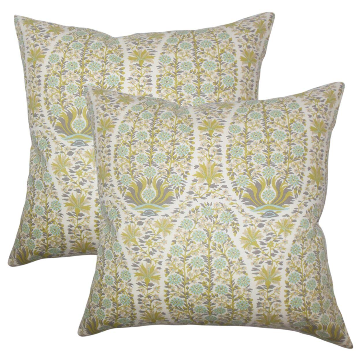 Lennie Floral Cotton Throw Pillow Color: Celadon
