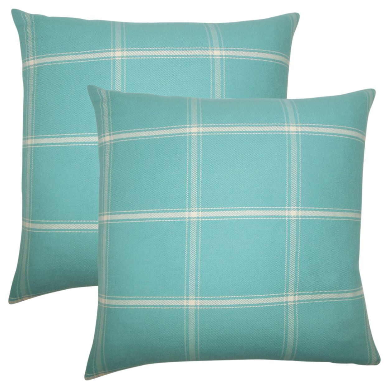 Stirling Rambert Plaid Cotton Throw Pillow Color: Aegean