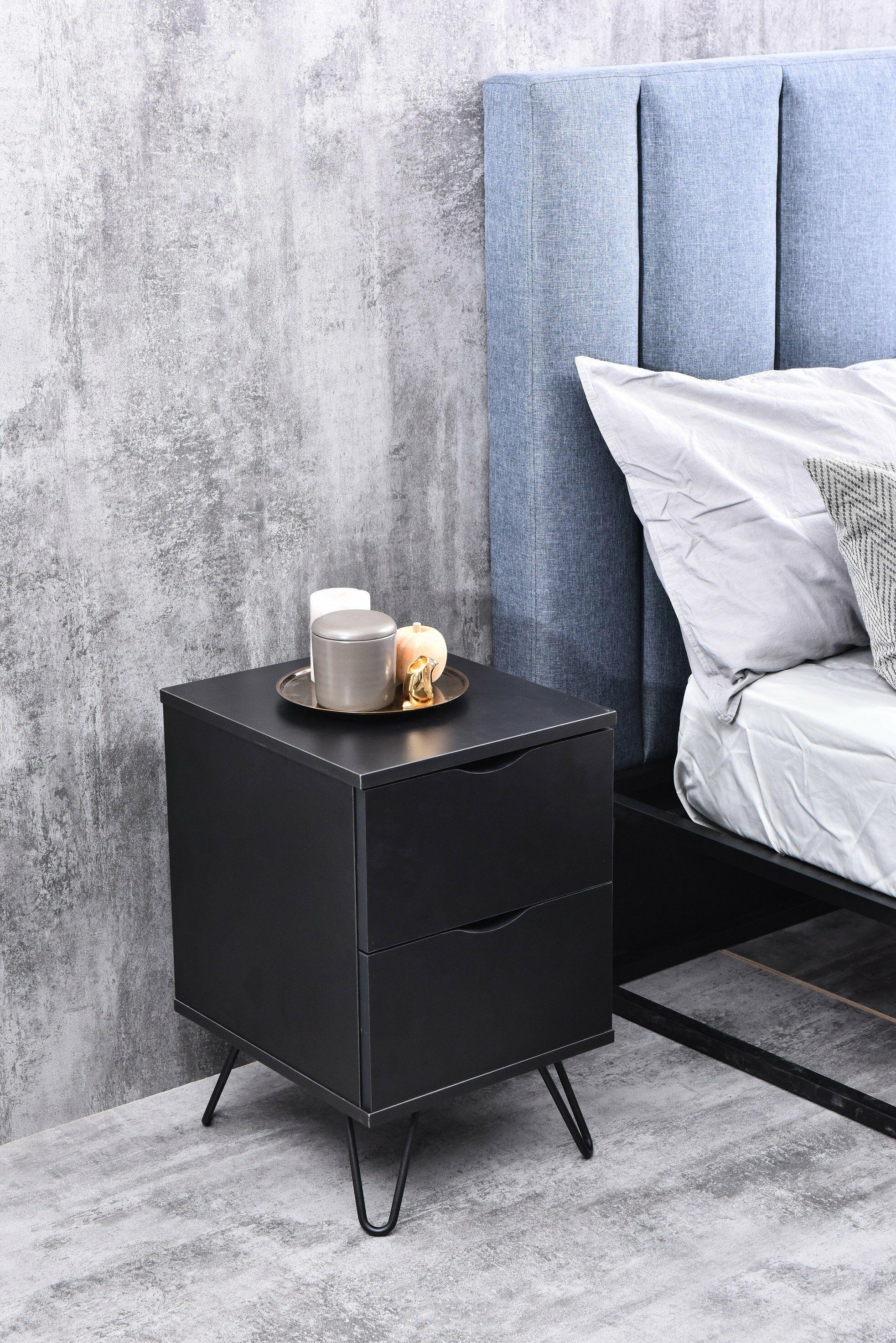 Garrison Bedside 2 Drawer Nightstand Color: Black