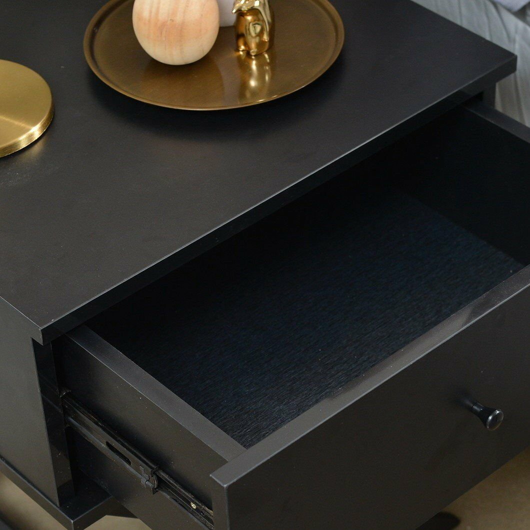 Gianni Bedside 1 Drawer Nightstand Color: Black