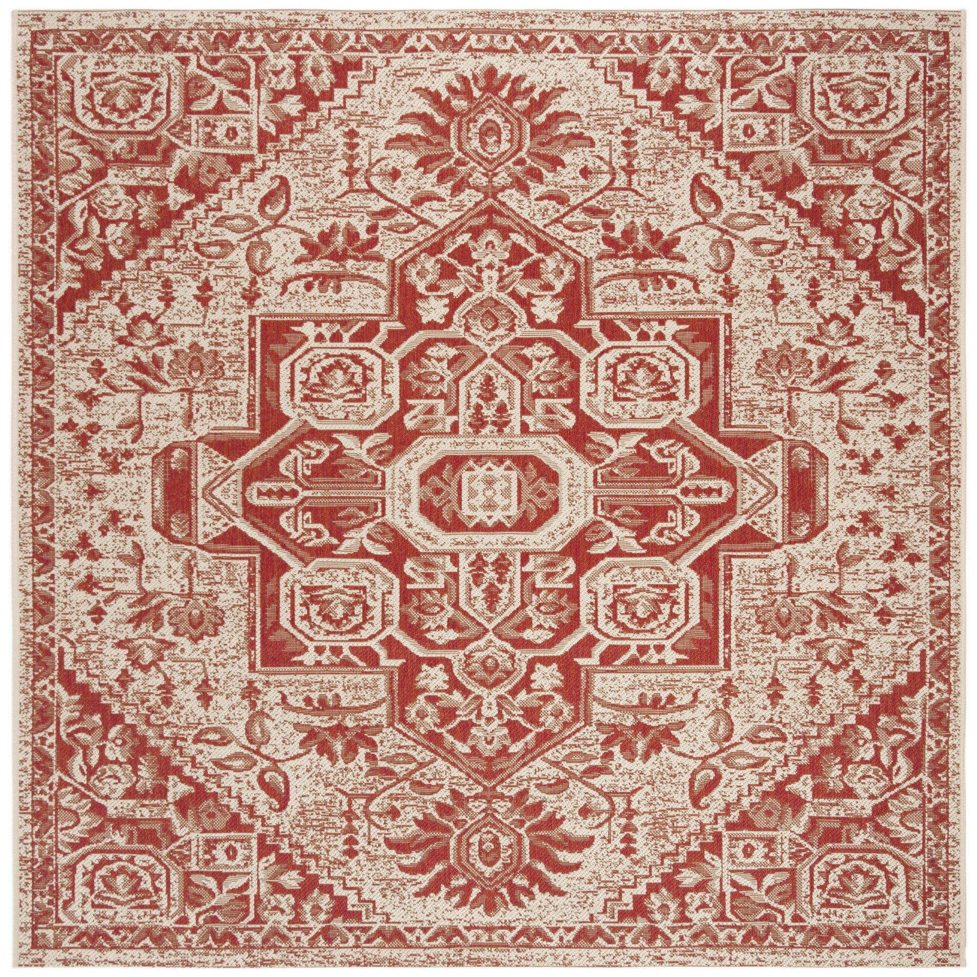 Hoover Cream/Red Area Rug Rug Size: Square 6'7