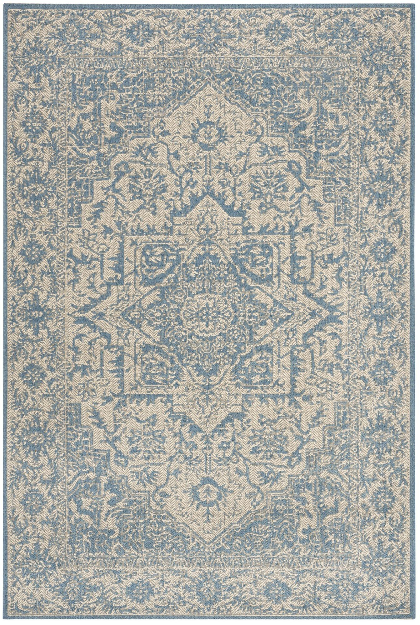 Dunnyvadden Cream/Blue Area Rug Rug Size: Rectangle 5'1