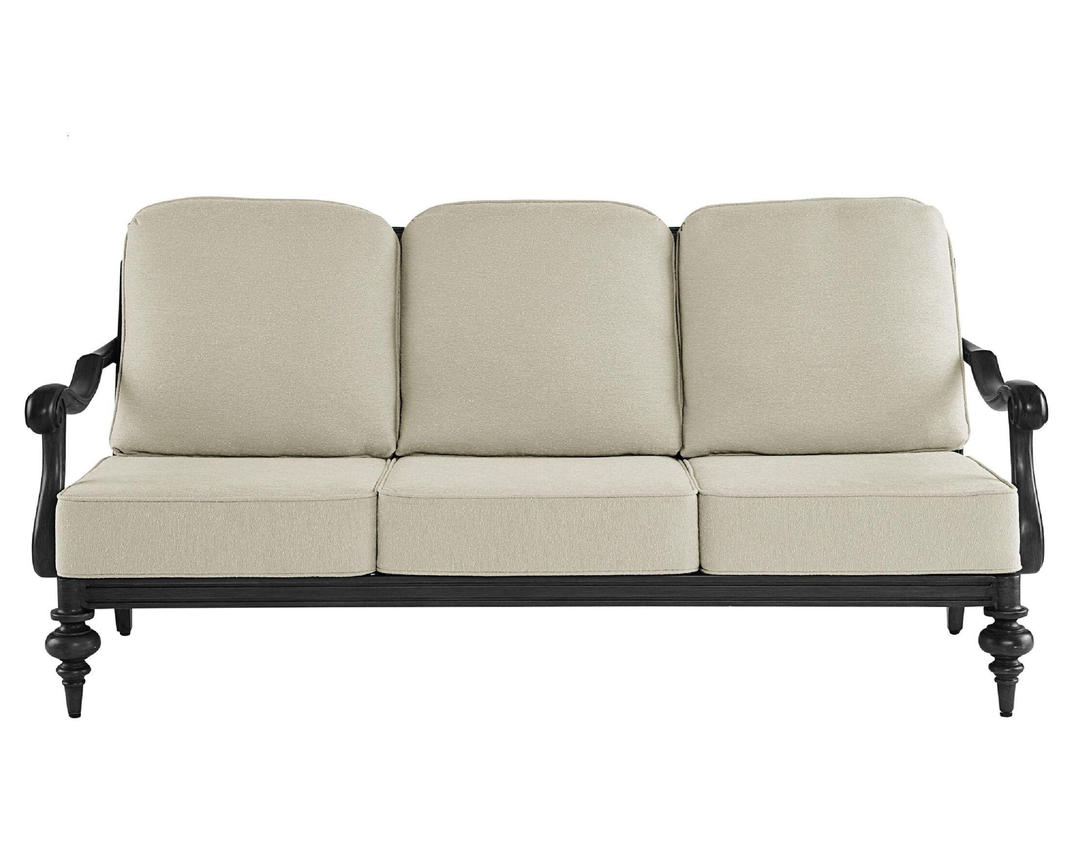 Hargrave Patio Sofa with Cushions Frame Color: Brown