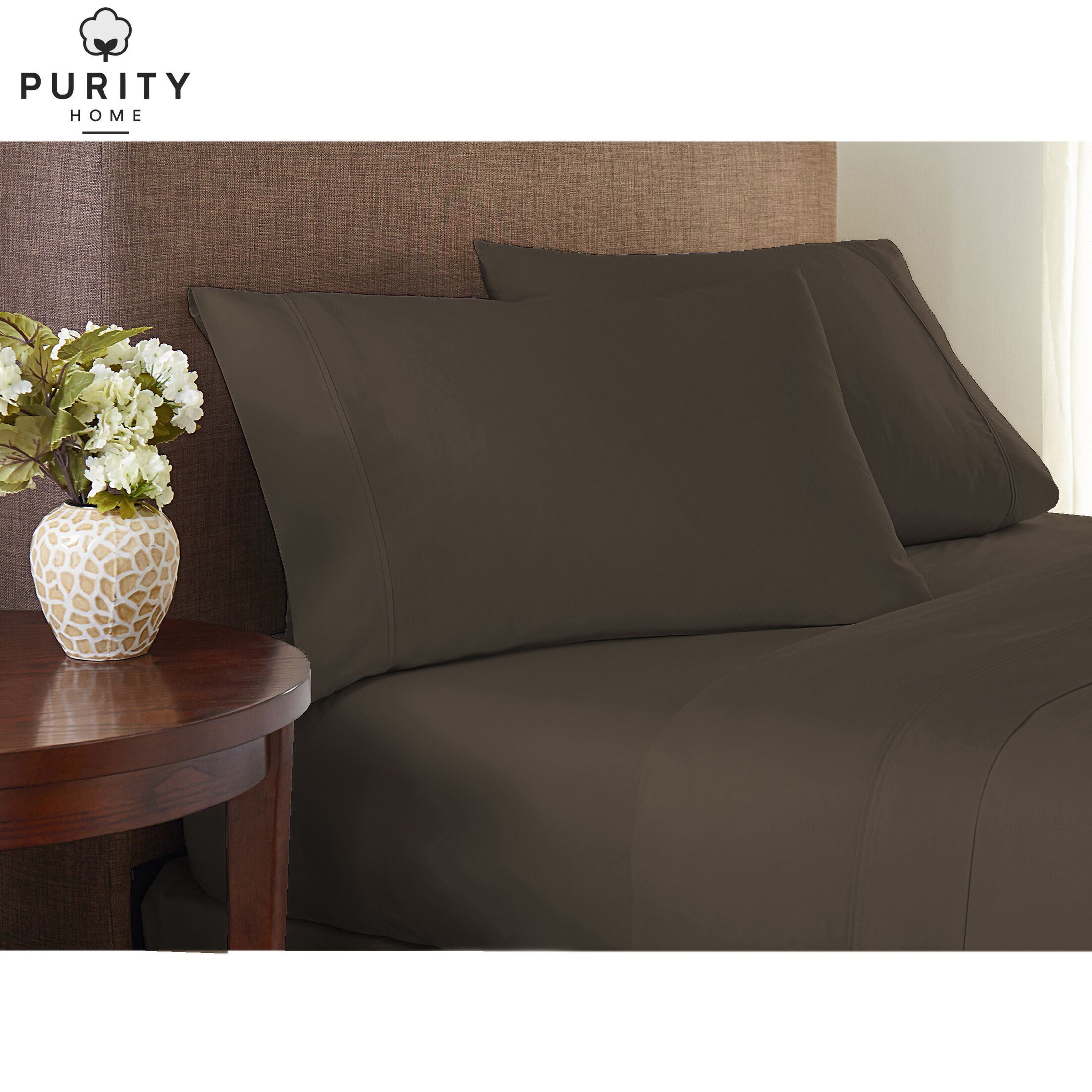 Purity Home 200 Thread Count 100% Cotton Sheet Set Size: Queen, Color: Stone