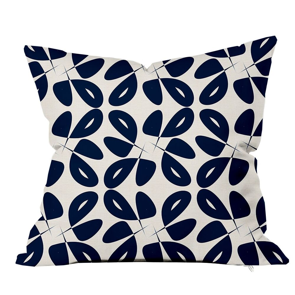 Leaves Floral Throw Pillow Size: 16