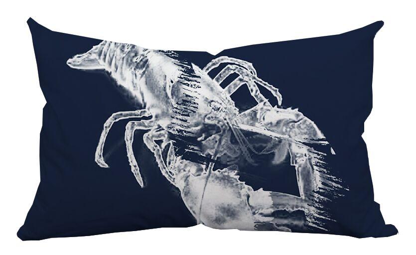 Lobster Watercolor Graphic Lumbar Pillow