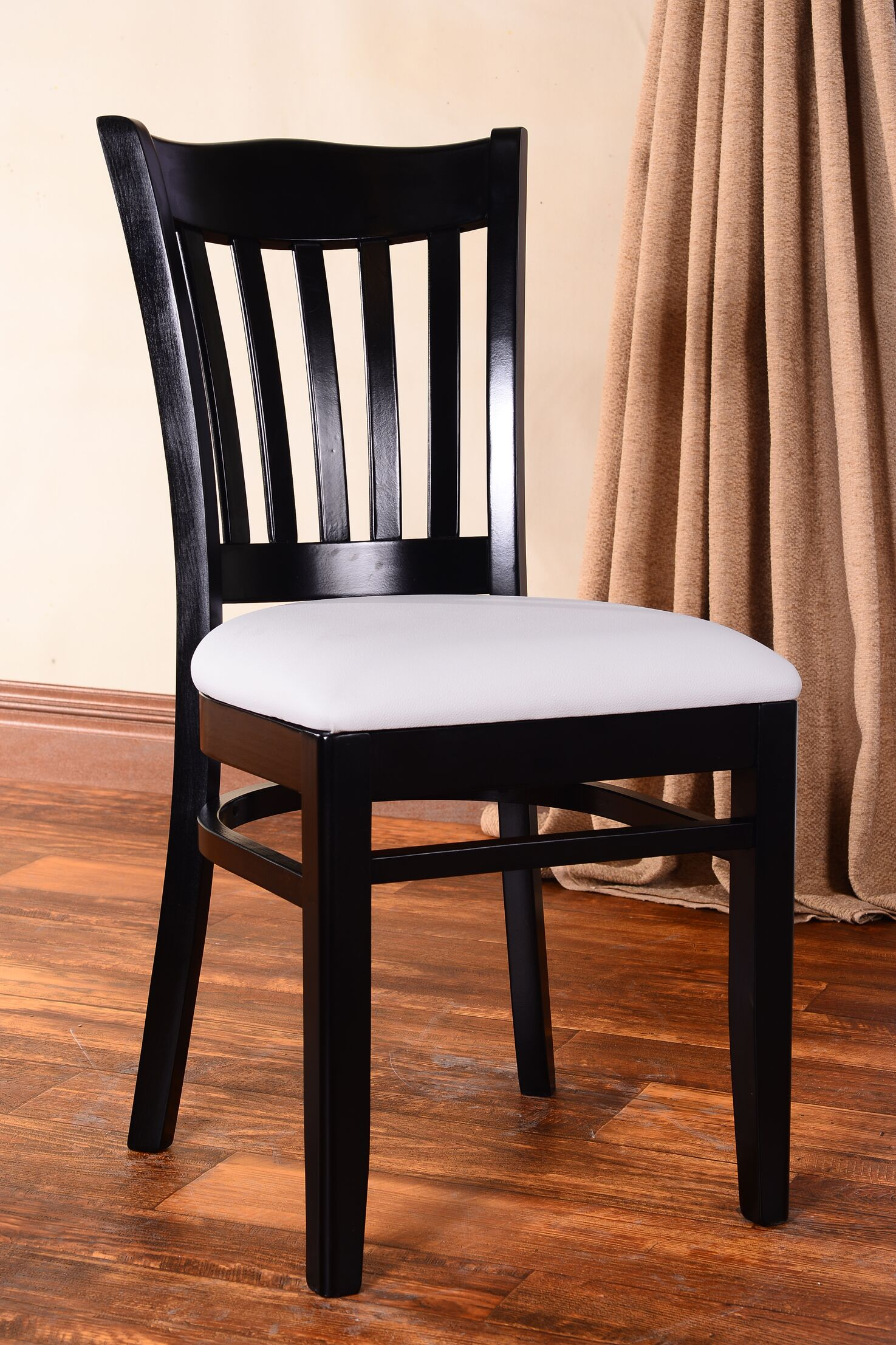 Darlington Side Chair Upholstery Color: Black, Frame Color: Cherry