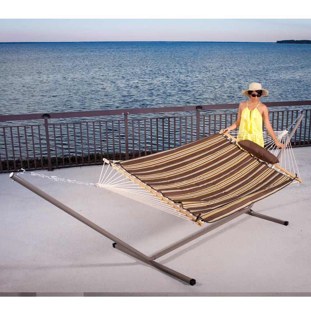 Cotton Hammock with Stand Color: Brown/Yellow Stripe