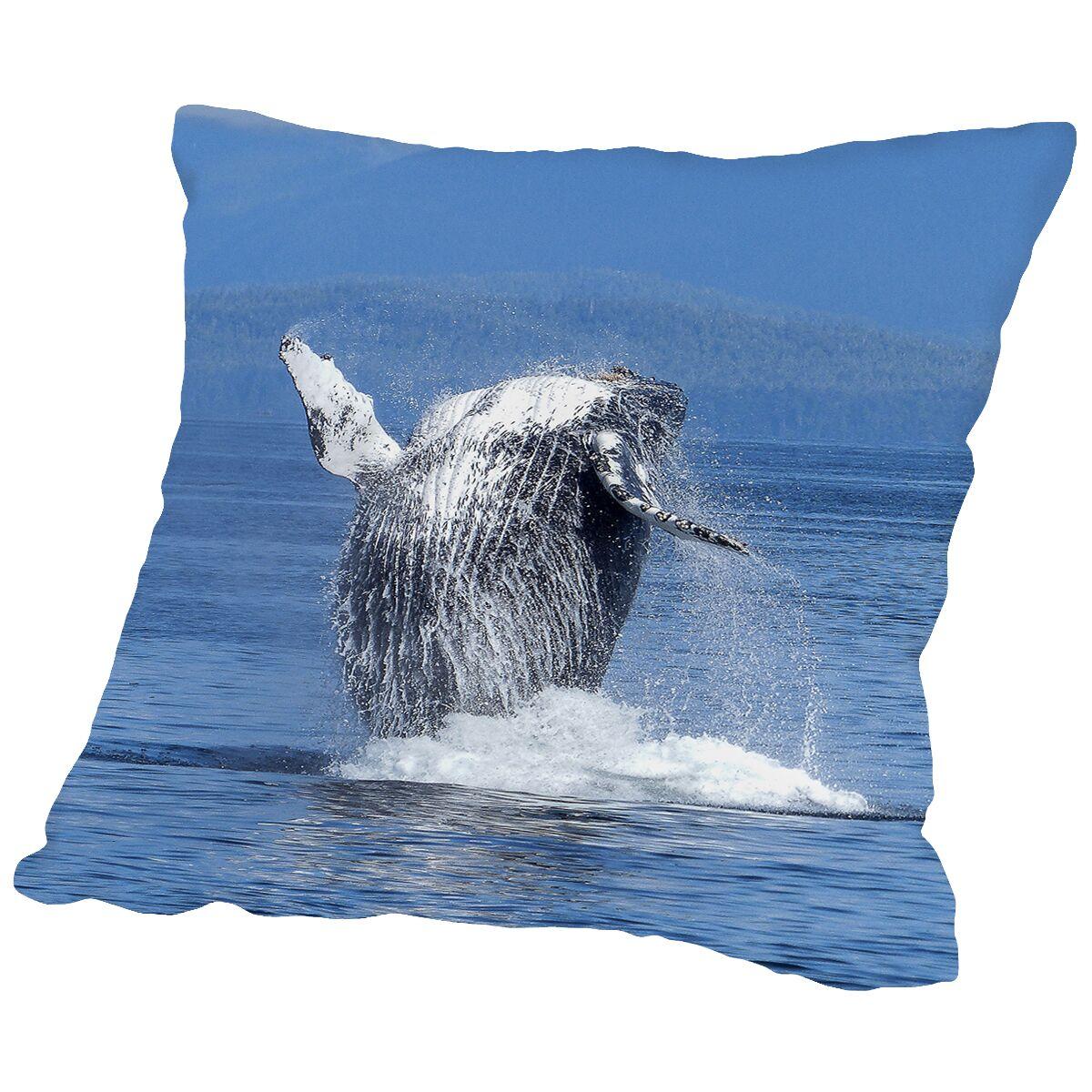 Whale Fish Sealife Ocean Throw Pillow Size: 14