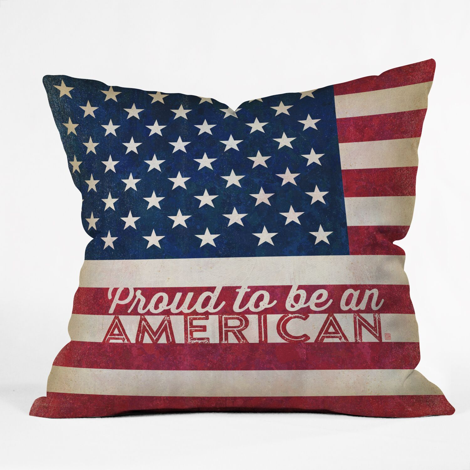 Proud to be an American Flag Throw Pillow Size: 16