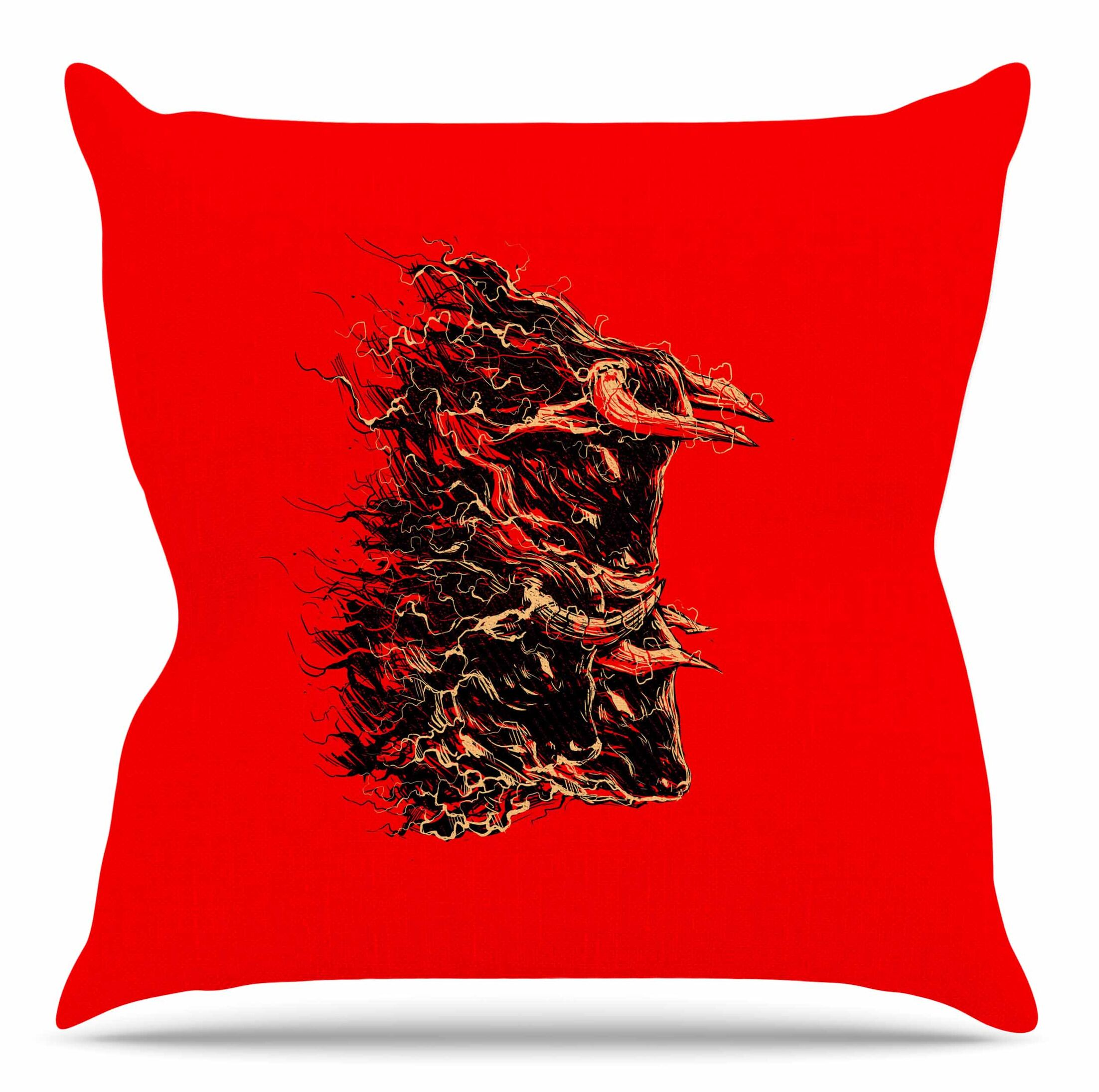 Bull by BarmalisiRTB Throw Pillow Size: 26