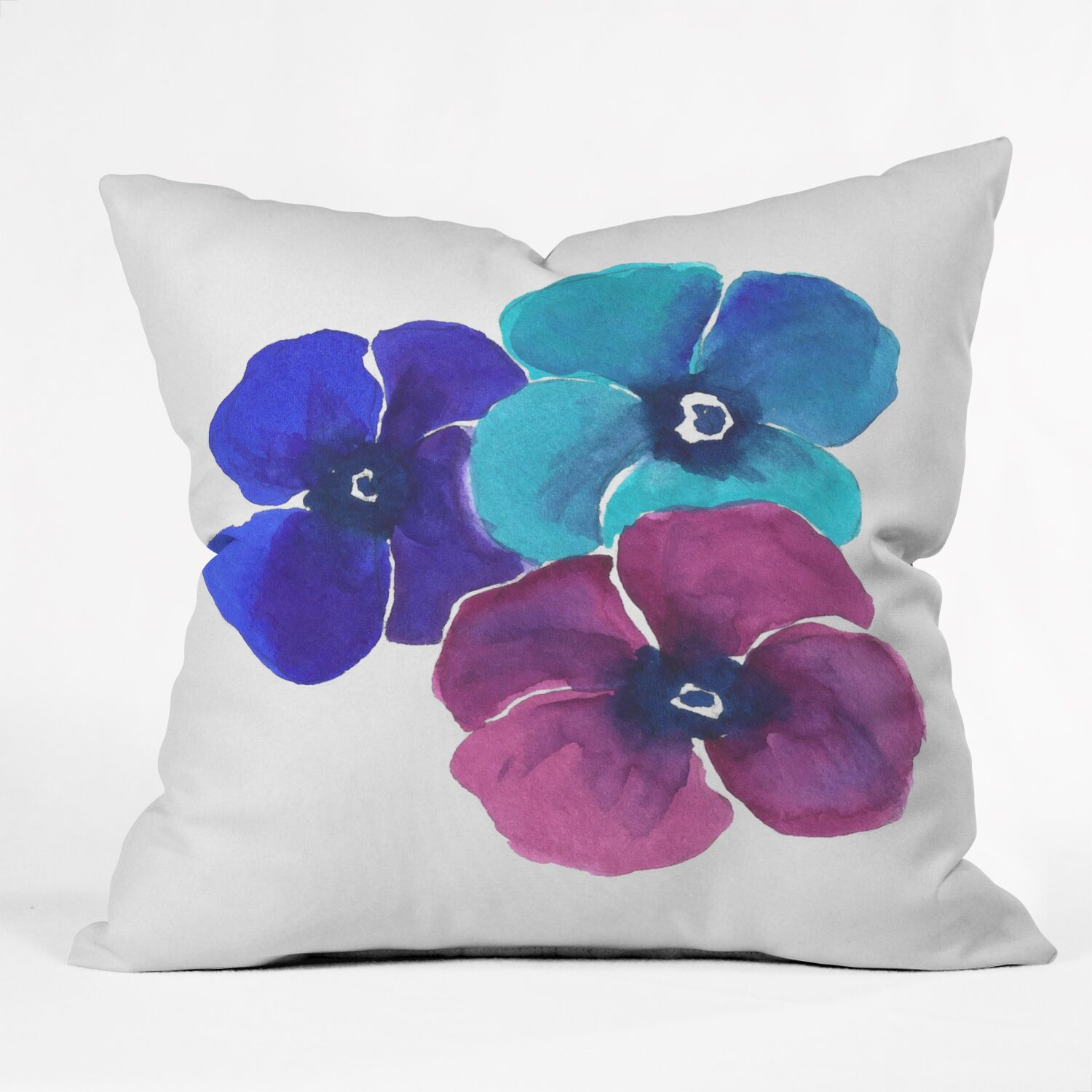 Jewel Tone Pansies by Laura Trevey Indoor/Outdoor Throw Pillow Size: 26
