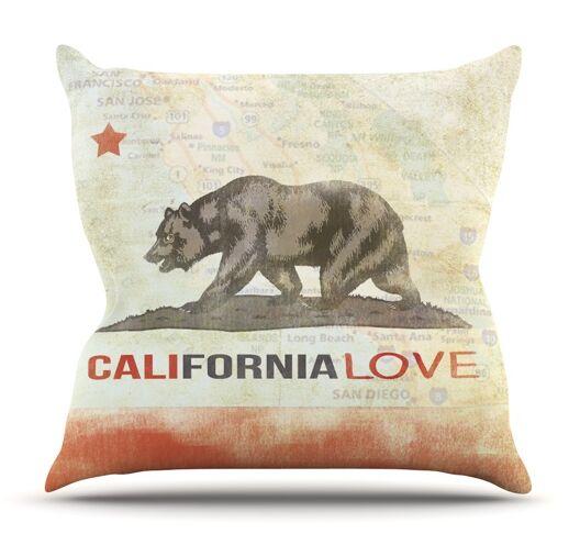 Cali Love by iRuz33 Outdoor Throw Pillow