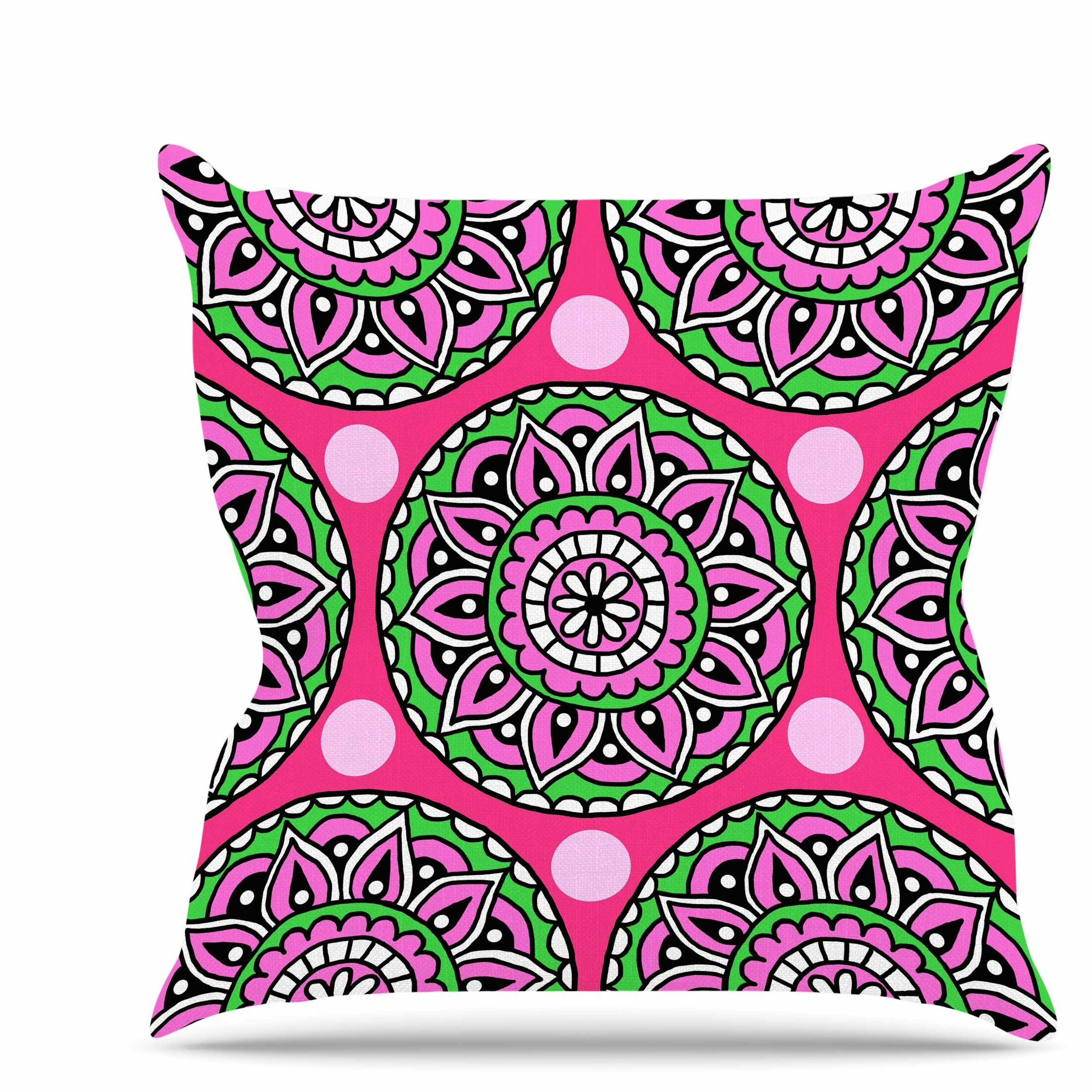 Watermelon Mandala Throw Pillow Size: 26