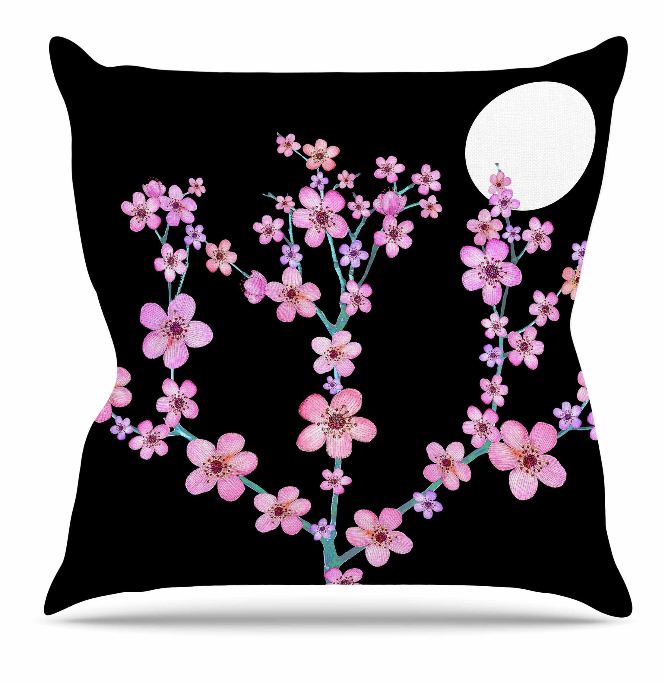 Cherry Blossom at Night Throw Pillow Size: 18