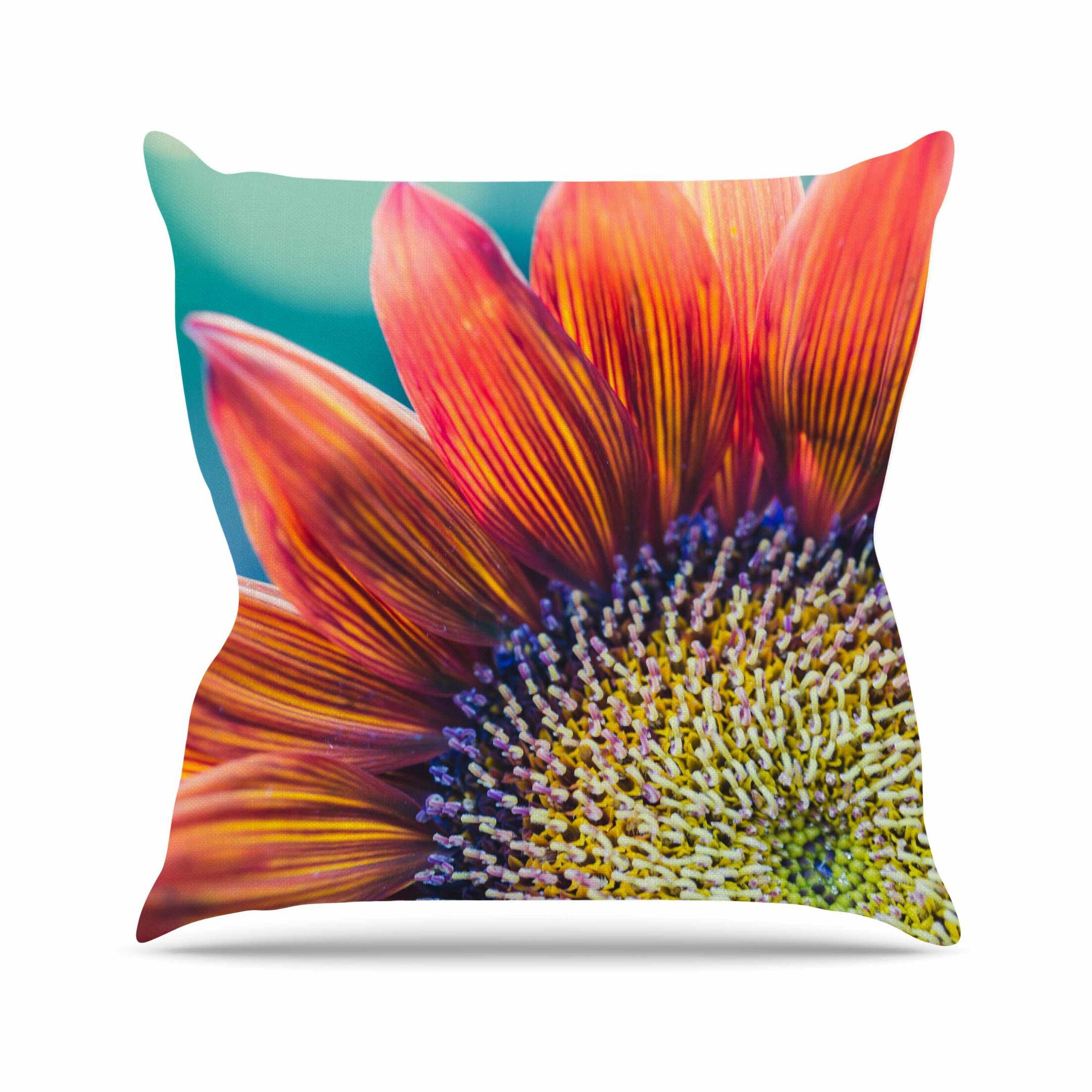 Fire & Ice Ann Barnes Flower Throw Pillow Size: 18