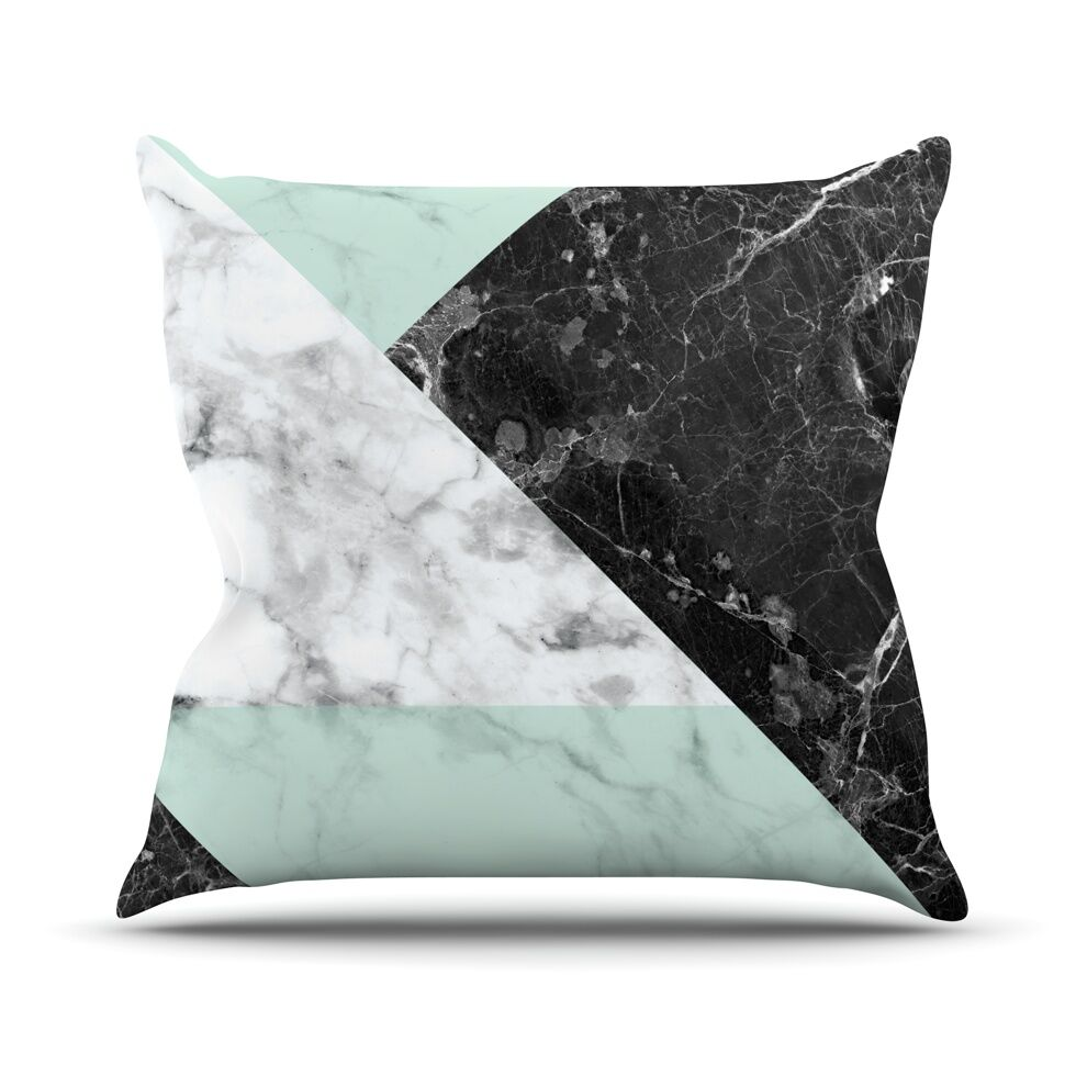 Geo Marble Throw Pillow Color: Mint, Size: 16