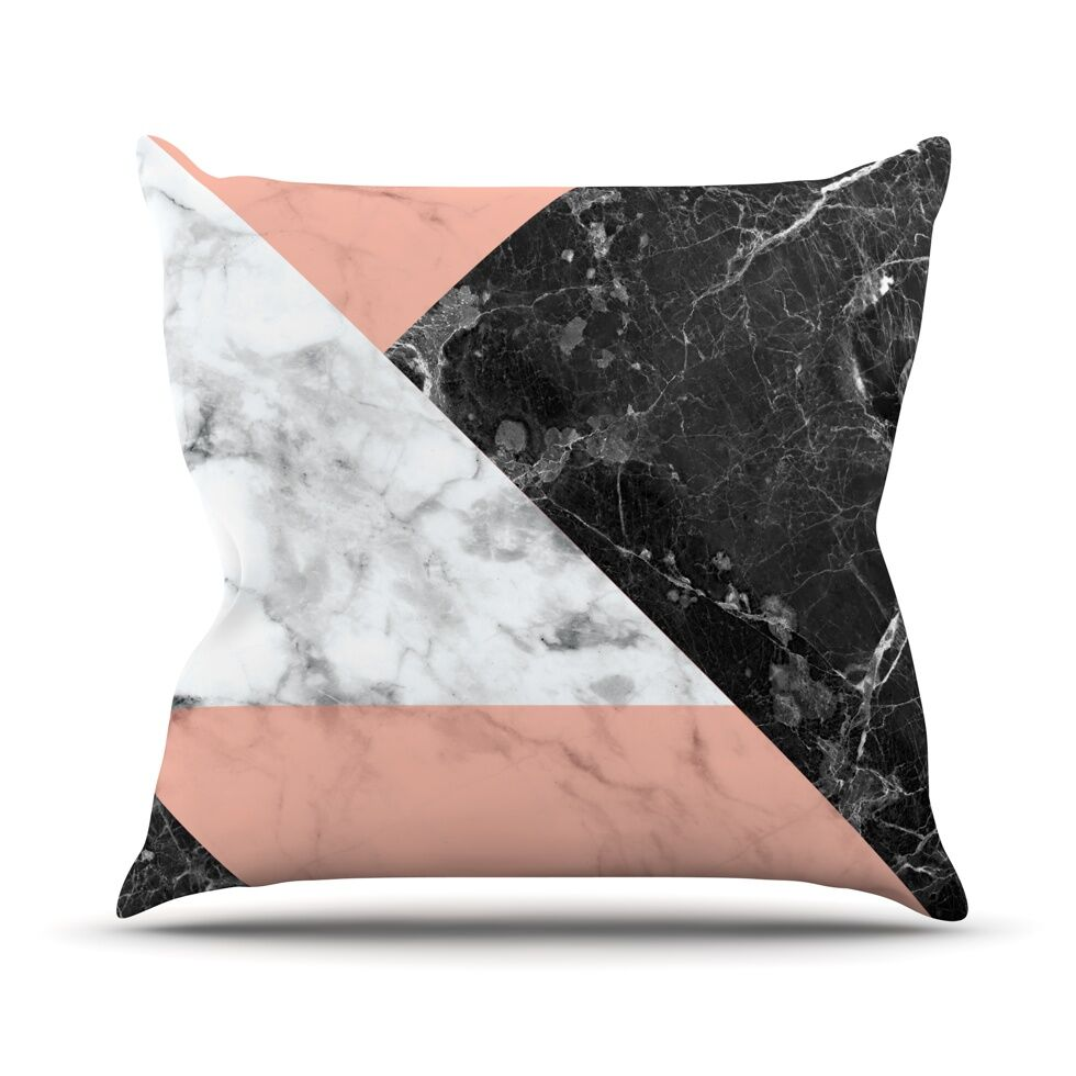 Geo Marble Throw Pillow Color: Coral, Size: 20