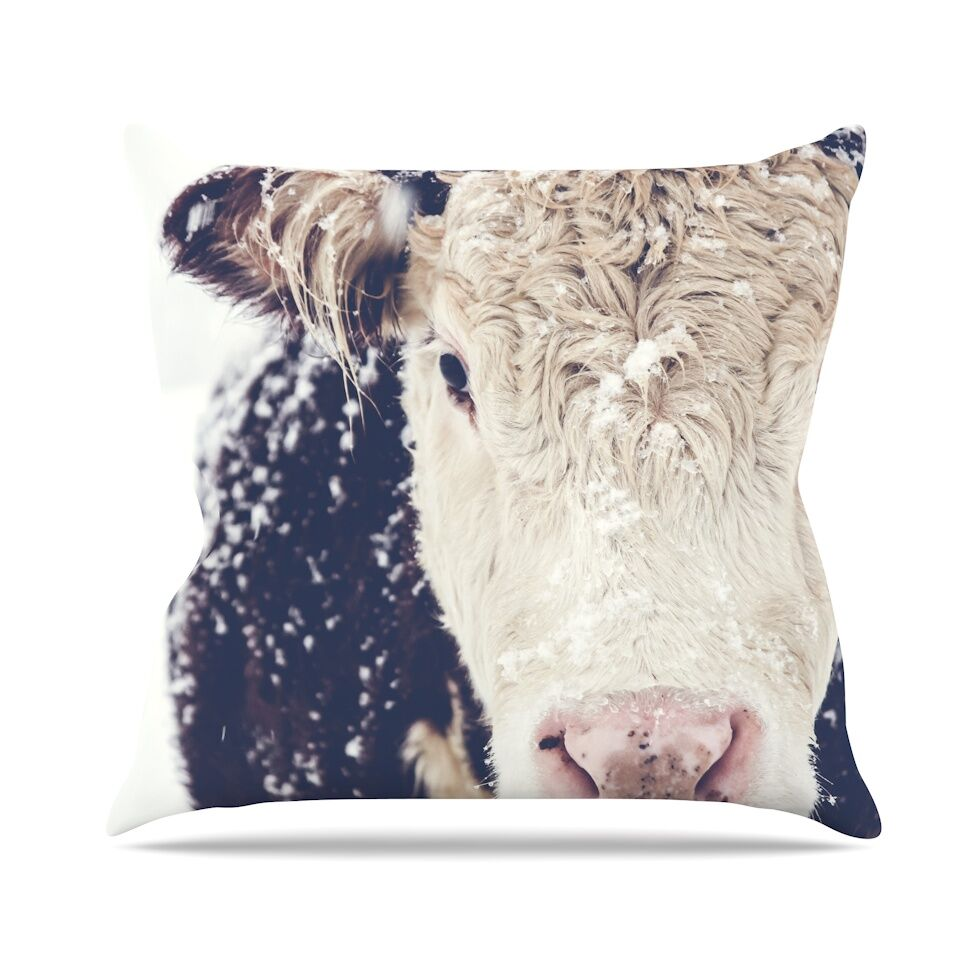 Snowy Cow by Debbra Obertanec Throw Pillow Size: 18