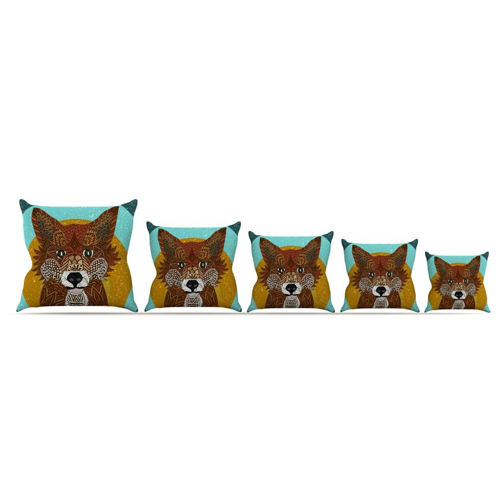 Colored Fox by Art Love Passion Throw Pillow Size: 16