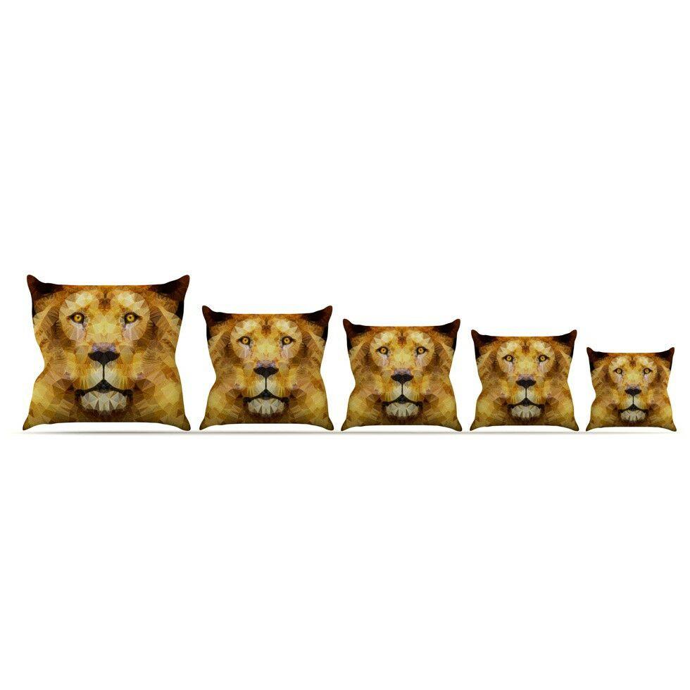 Lion King by Ancello Throw Pillow Size: 16