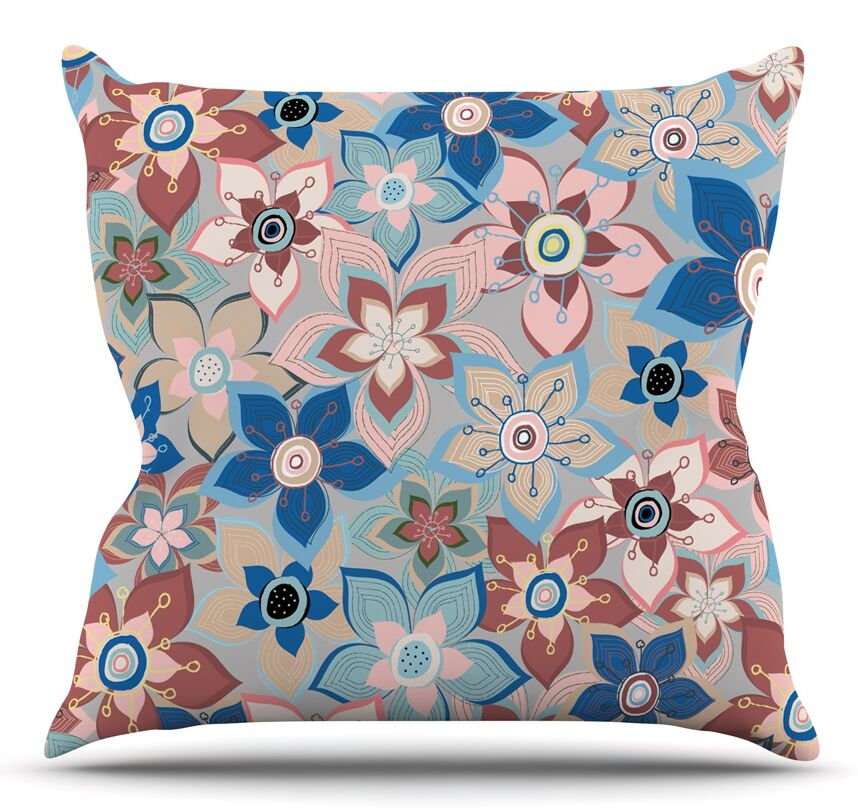 Marsala Floral Mix by Jolene Heckman Throw Pillow Size: 16