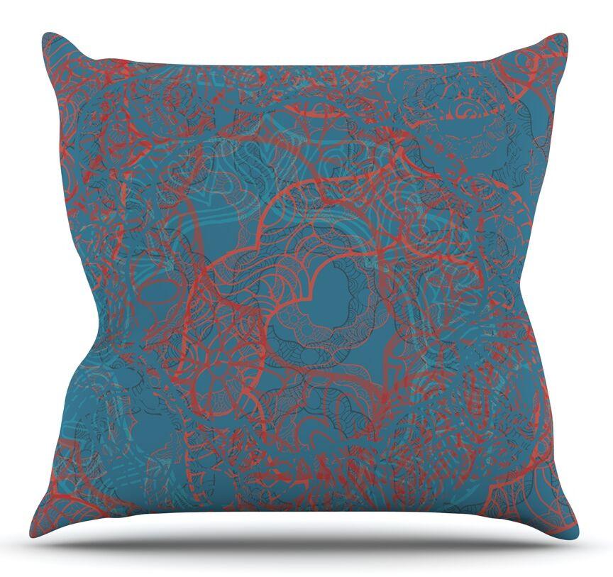 Mandala Teal by Patternmuse Throw Pillow Size: 18