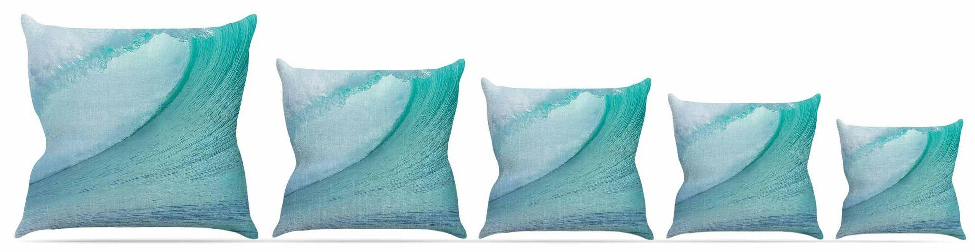 Ocean Blue Wave Throw Pillow Size: 26