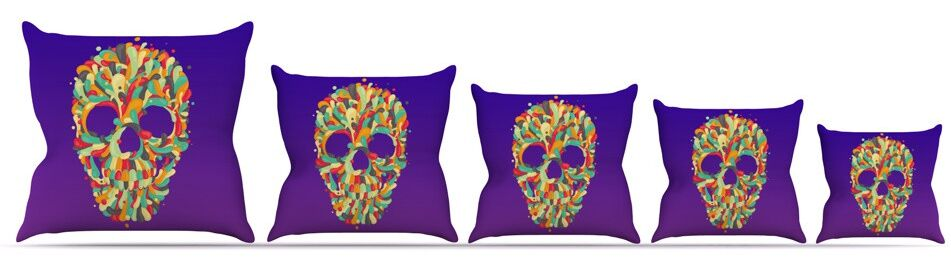 Jelly Skull Throw Pillow Size: 26