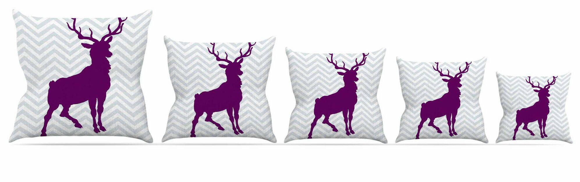 Chevron Deer Throw Pillow Size: 26