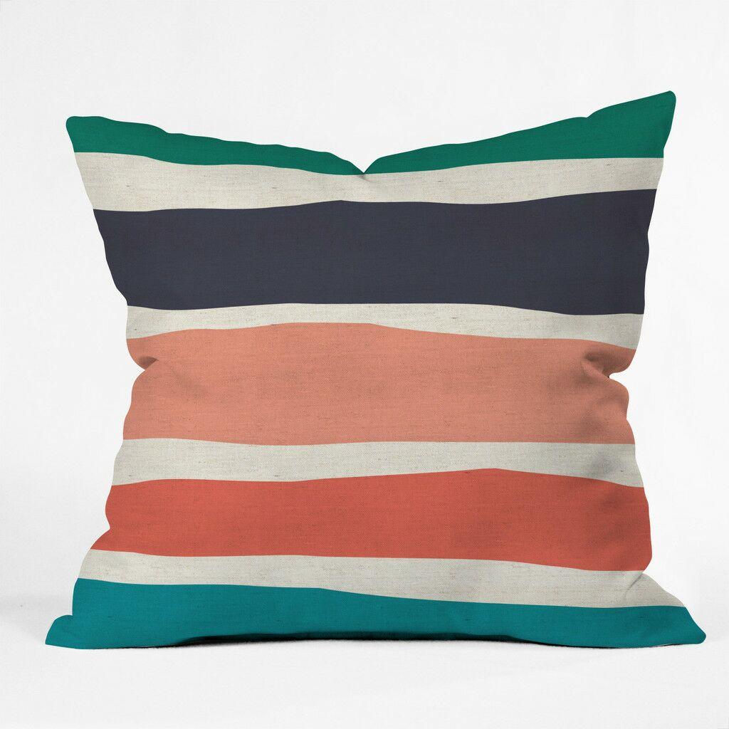 Paper Stripe Polyester Throw Pillow Size: 16