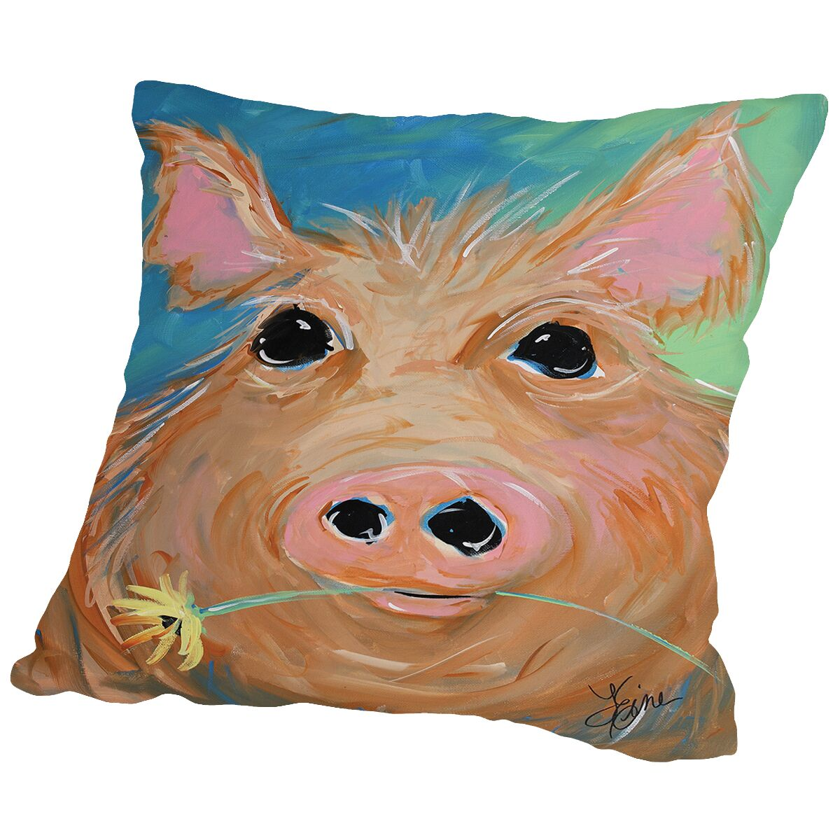 Pig With Flower Throw Pillow Size: 20