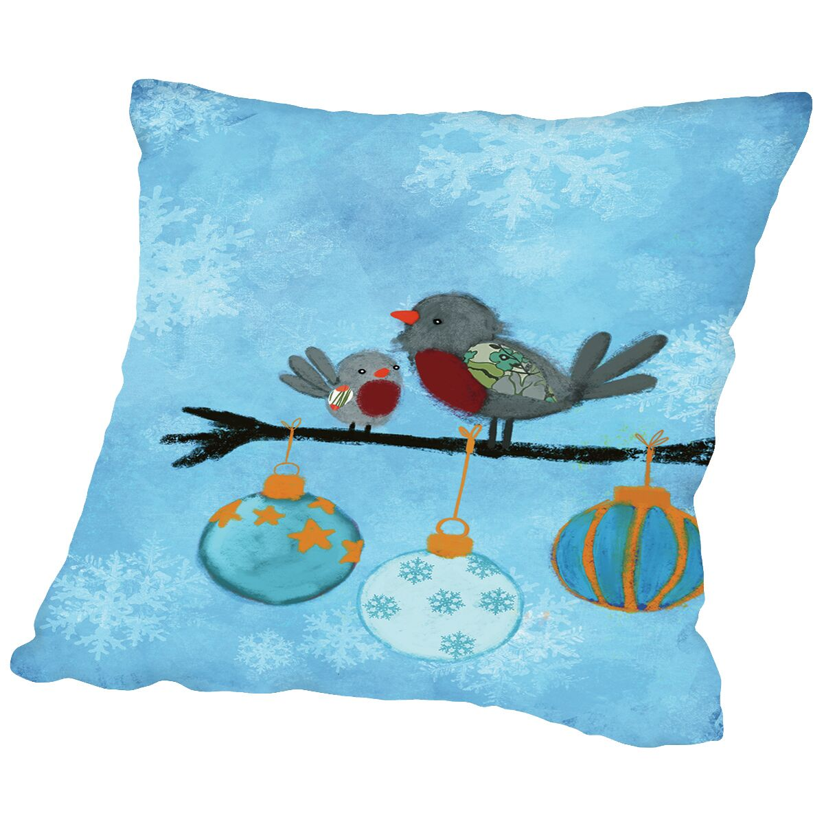 Birds With Ornaments Throw Pillow Size: 20