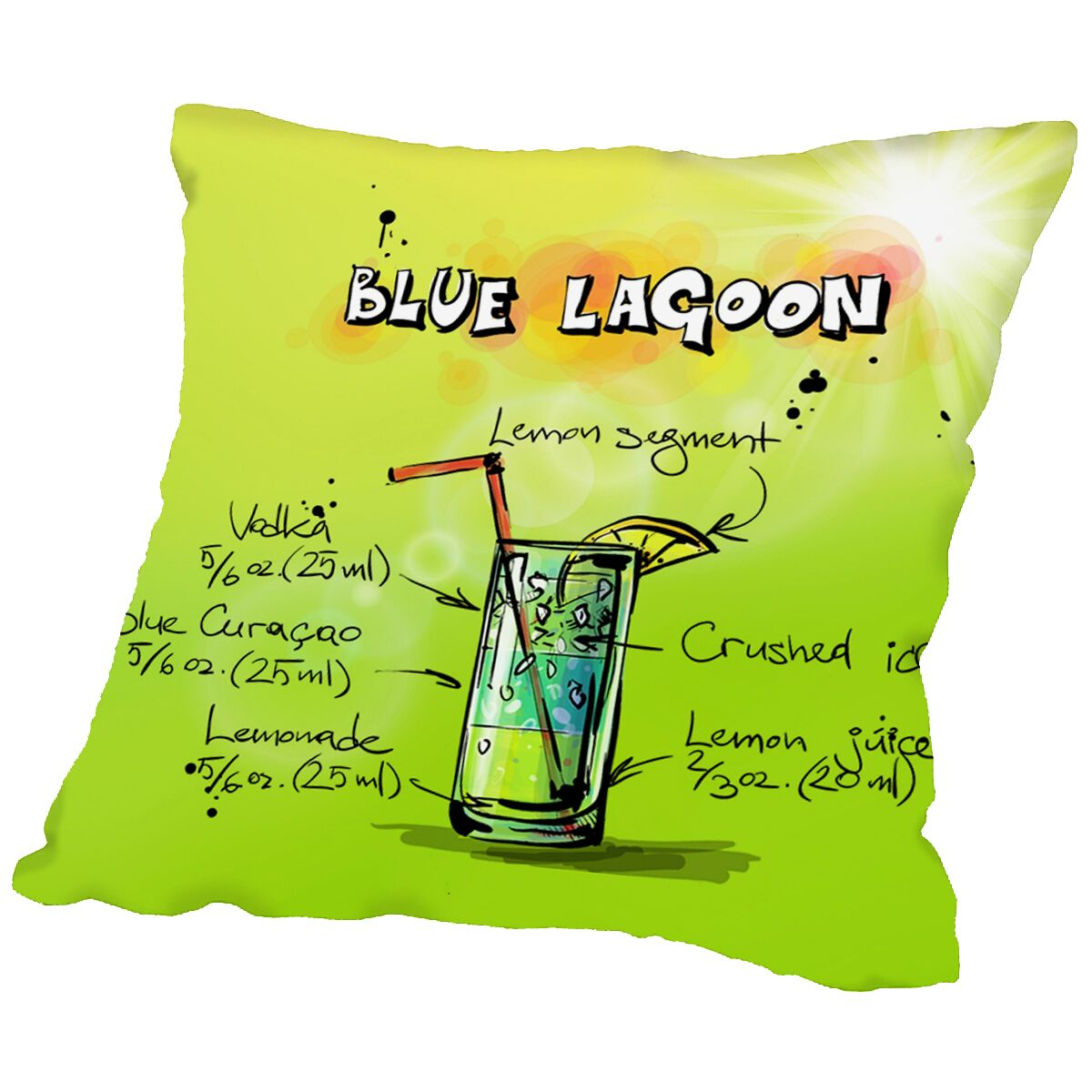 Blue Lagoon Cocktail Throw Pillow Size: 16