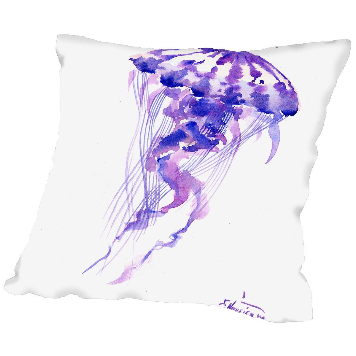 Jellyfish Throw Pillow Size: 16