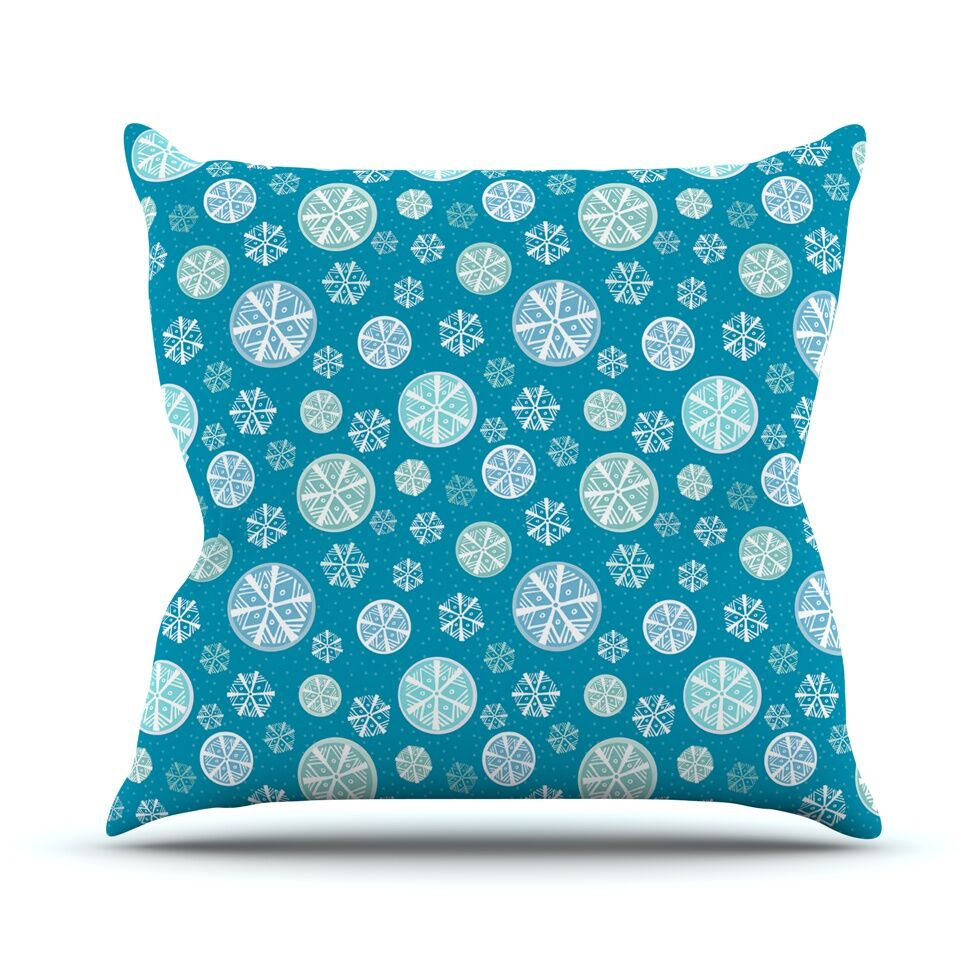 Snowflake Throw Pillow Color: Sky, Size: 20'' H x 20'' W x 4