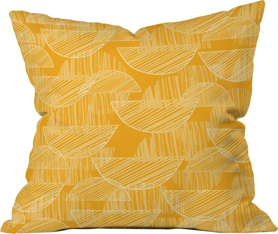 Mustard Arc Showers Polyester Throw Pillow Size: 20
