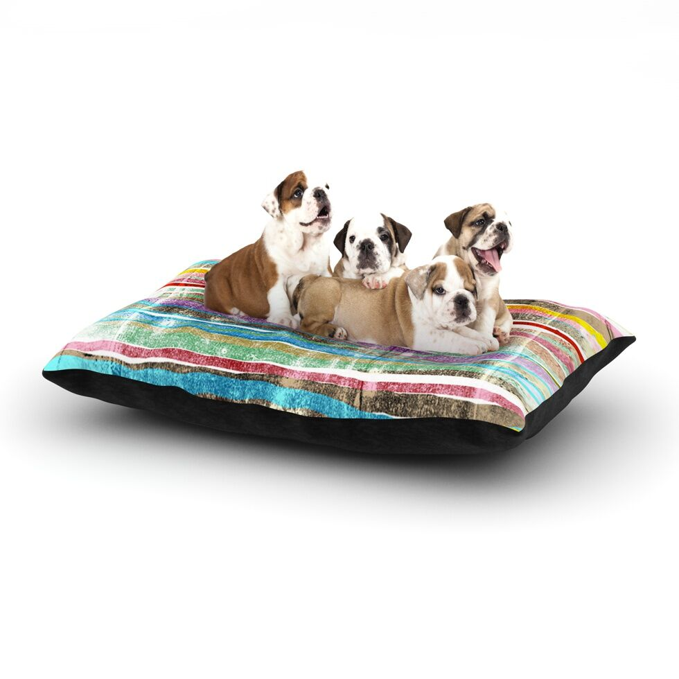 Frederic Levy-Hadida 'Fancy Stripes' Dog Pillow with Fleece Cozy Top Size: Small (40
