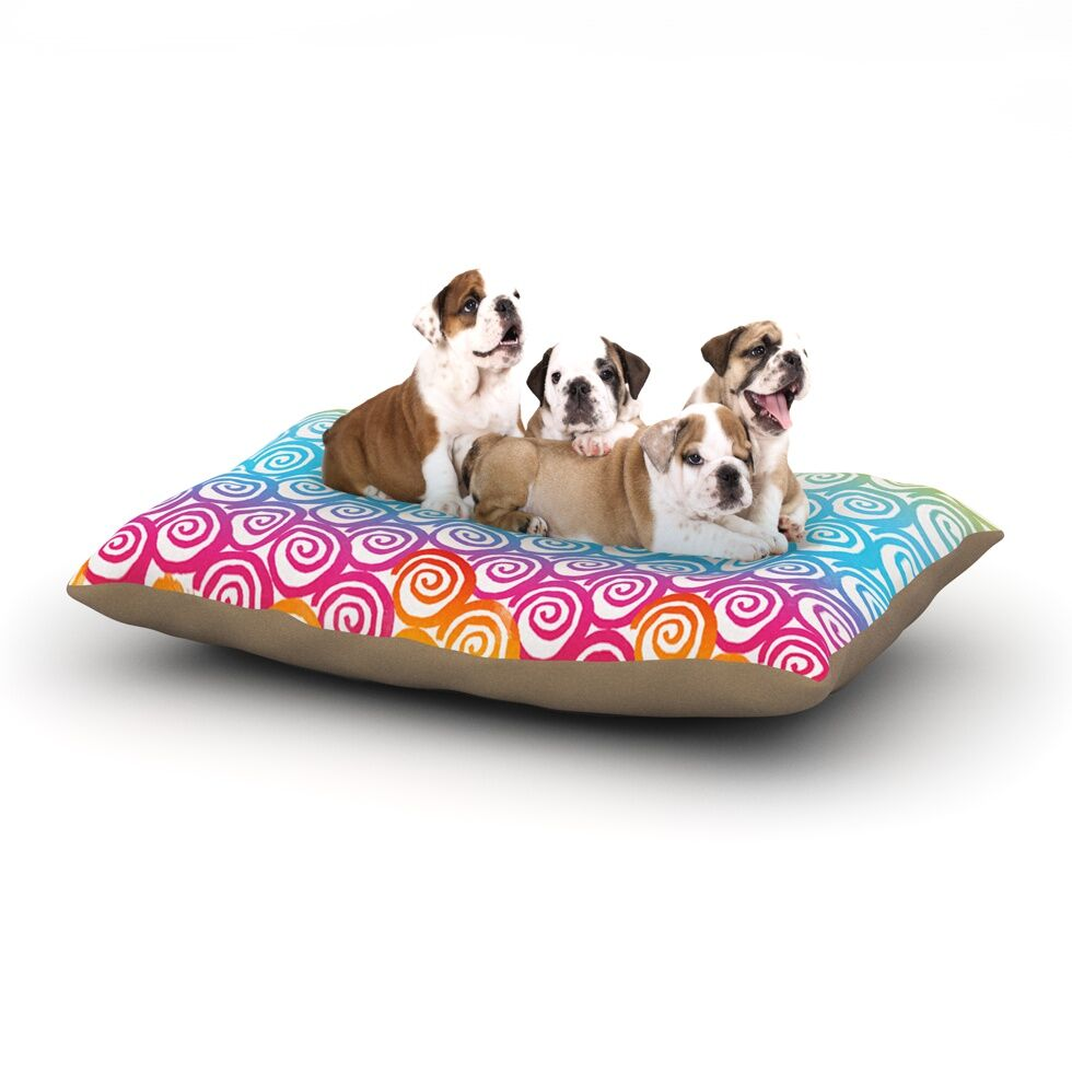 Frederic Levy-Hadida 'Ethnic Spirals' Dog Pillow with Fleece Cozy Top Size: Small (40